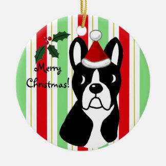 Dibujo animado del navidad de Boston Terrier Adorno Redondo De Cerámica