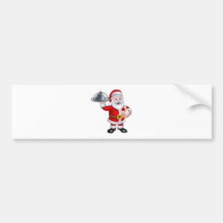 Dibujo animado del navidad de Santa que sostiene Pegatina Para Auto