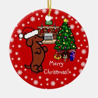 Dibujo animado del navidad del Dachshund Ornamentos De Reyes Magos