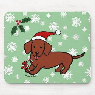 Dibujo animado del navidad del Dachshund Tapetes De Raton