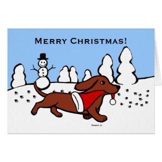 Dibujo animado del navidad del Dachshund Felicitación