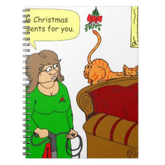 dibujo animado del navidad del muérdago del libro de apuntes con espiral