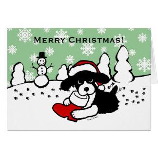Dibujo animado del navidad del perro de aguas de felicitaciones