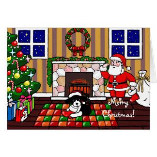 Dibujo animado del navidad del perro de aguas de tarjeta
