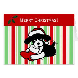 Dibujo animado del navidad del perro de aguas de tarjeton