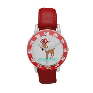 Dibujo animado del navidad del reno relojes de mano