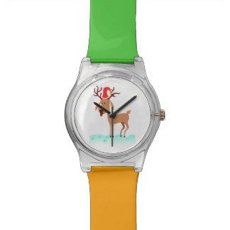 Dibujo animado del navidad del reno relojes de pulsera