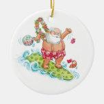 Dibujo animado del navidad del vintage que adorno redondo de cerámica