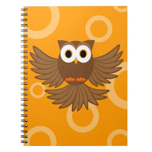 Dibujo animado del noctámbulo del vuelo - Brown y  Spiral Notebooks