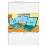 Dibujo animado del ordenador portátil que habla tarjeta