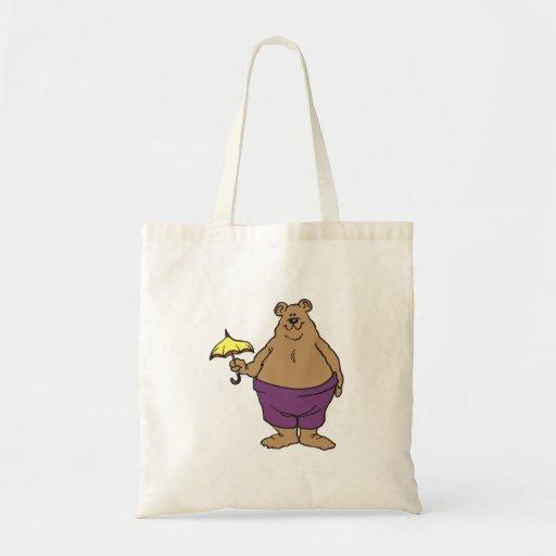 Dibujo animado del oso bolsa tela barata