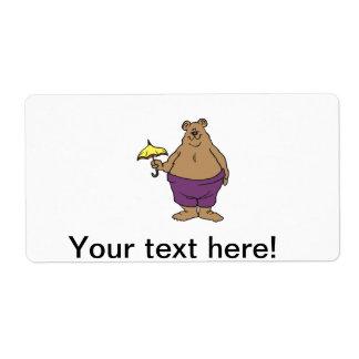 Dibujo animado del oso etiquetas de envío