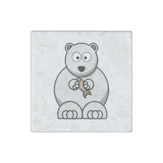 Dibujo animado del oso polar imán de piedra