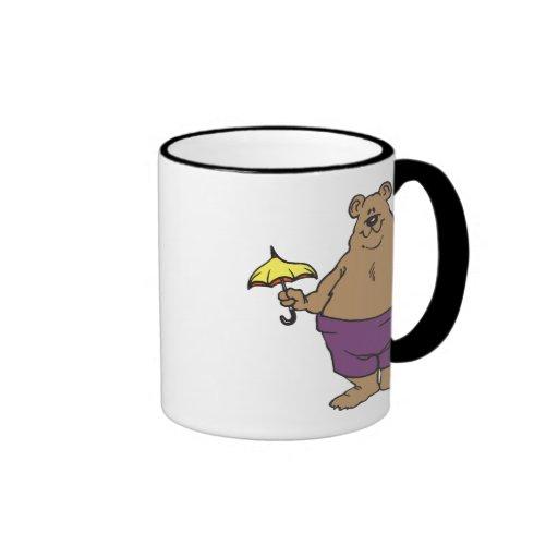 Dibujo animado del oso taza a dos colores