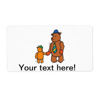 Dibujo animado del oso y del hijo de la papá etiqueta de envío