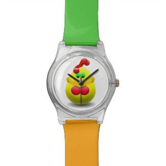 Dibujo animado del pato reloj