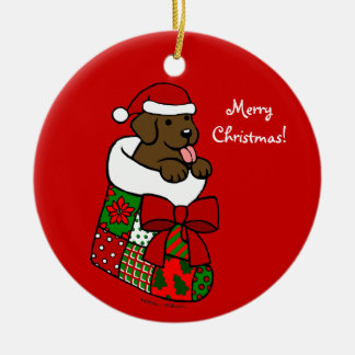 Dibujo animado del perrito de Labrador del chocola Ornamentos De Reyes Magos
