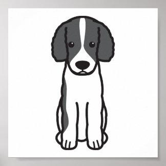 Dibujo animado del perro de agua del Frisian Póster