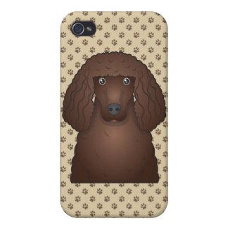 Dibujo animado del perro de aguas de agua irlandes iPhone 4 fundas
