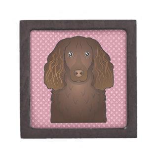 Dibujo animado del perro de aguas de Boykin Cajas De Joyas De Calidad