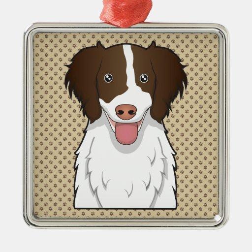 Dibujo animado del perro de aguas de saltador adorno cuadrado plateado