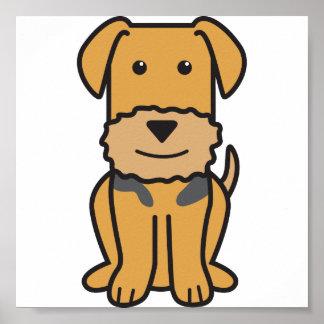 Dibujo animado del perro de Airedale Terrier Póster