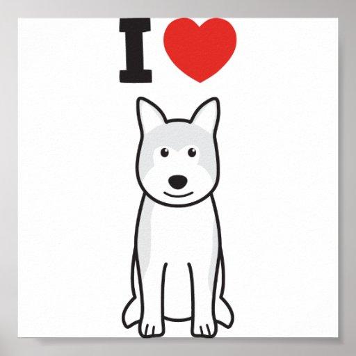 Dibujo animado del perro de Akita Póster