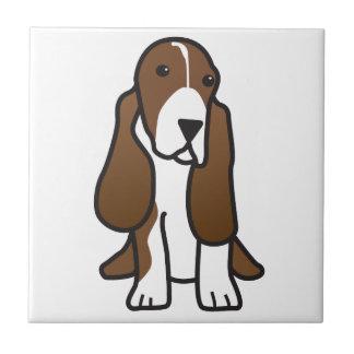 Dibujo animado del perro de Basset Hound Azulejo Cuadrado Pequeño