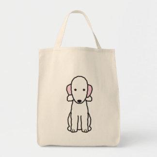 Dibujo animado del perro de Bedlington Terrier Bolsa Tela Para La Compra