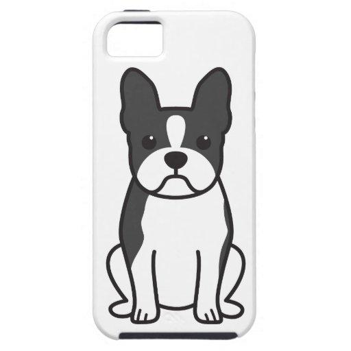 Dibujo animado del perro de Boston Terrier iPhone 5 Case-Mate Cárcasa