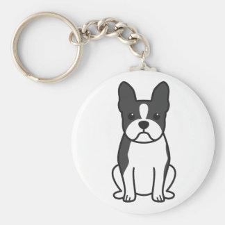 Dibujo animado del perro de Boston Terrier Llaveros Personalizados
