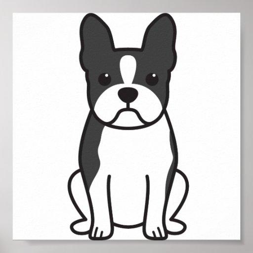 Dibujo animado del perro de Boston Terrier Póster
