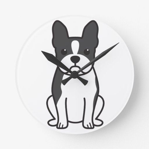 Dibujo animado del perro de Boston Terrier Reloj De Pared