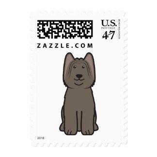 Dibujo animado del perro de Briard Sello Postal