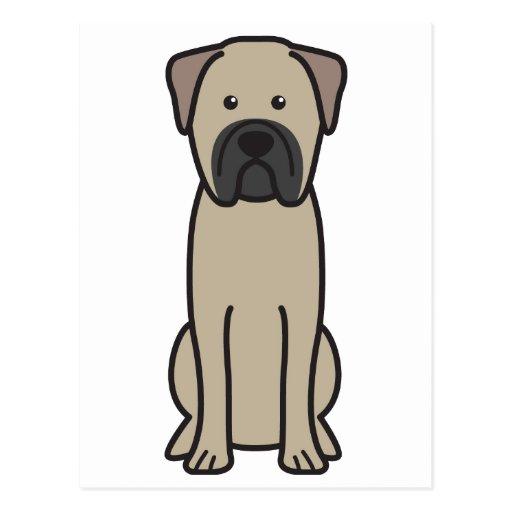 Dibujo animado del perro de Bullmastiff Postal