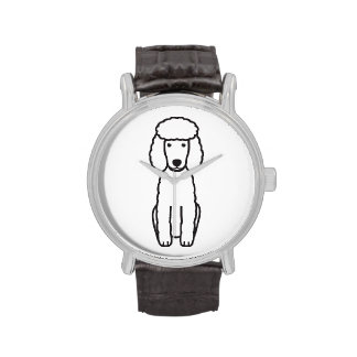 Dibujo animado del perro de caniche miniatura reloj
