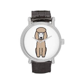 Dibujo animado del perro de caniche miniatura relojes