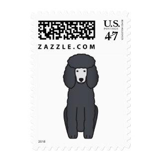 Dibujo animado del perro de caniche sello postal