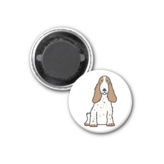 Dibujo animado del perro de cocker spaniel del imán redondo 3 cm