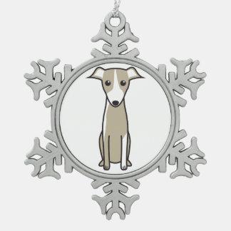 Dibujo animado del perro de Galgo Español Adorno De Peltre En Forma De Copo De Nieve