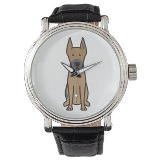 Dibujo animado del perro de great dane relojes de pulsera