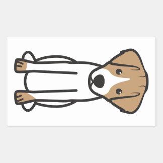Dibujo animado del perro de Jack Russell Terrier Pegatina Rectangular