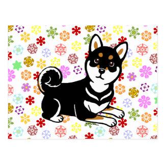 Dibujo animado del perro de Kuro Shiba Inu Postal