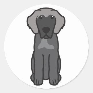 Dibujo animado del perro de Leonberger Etiquetas Redondas