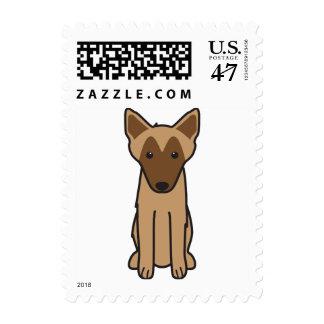 Dibujo animado del perro de Malinois del belga Estampillas