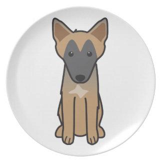 Dibujo animado del perro de Malinois del belga Platos Para Fiestas