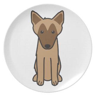 Dibujo animado del perro de Malinois del belga Plato