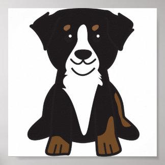 Dibujo animado del perro de montaña de Bernese Póster