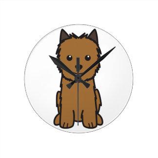 Dibujo animado del perro de Norwich Terrier Reloj Redondo Mediano