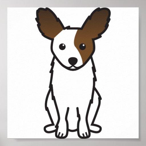 Dibujo animado del perro de Papillon Posters